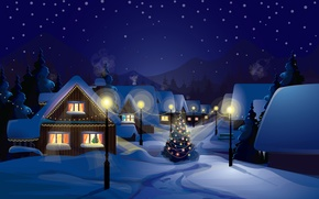 Wallpaper snow, decoration, city, the city, lights, lights, vector, graphics, tree, new year, home, vector, new ...
