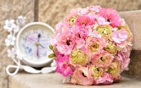 Picture watch, bouquet, peonies, hydrangea, bouquet, clock