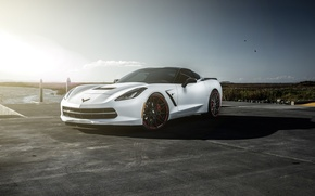Picture Z06, Corvette, Chevrolet, Car, Sky, Sunset, American, Supercharged, Matte White