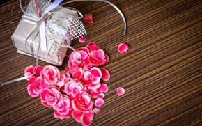 Picture flowers, tape, gift, petals, pink, holidays, box, packaging