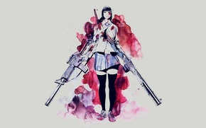 Picture girl, weapons, background, blood