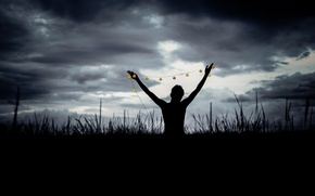 Picture field, clouds, man, darkness, silhouette, globes
