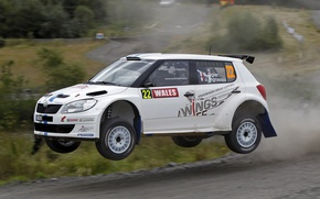 Picture Auto, White, Speed, WRC, Rally, Skoda, Fabia, Sebastien Ogier, Julien Ingrassia, In The Air, Flies