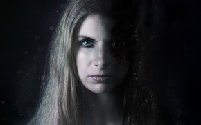 Picture dark, horror, long hair, octopus, woman, eyes, lips, face, fear, blond, evil, mouth, kraken, tentacles, …