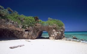 Picture sand, sea, greens, beach, stones, the ocean, rocks, Japan, arch, Okinawa