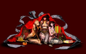 Picture fantasy, girls, holiday, new year, anime, art, gifts