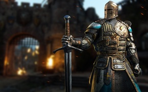 Picture Microsoft, fire, flame, sword, Sony, armor, war, cross, Ubisoft, man, ken, flags, castle, hero, pose, …