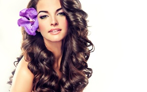 Picture look, background, face, flower, hair, makeup, curls, lips, Orchid, model