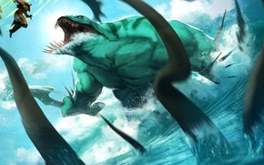 Picture sea, art, Dota 2, Juggernaut, ningyee7, Tidehunter. tentacles