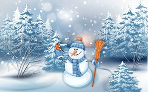 Picture snowman, tree, graphics, holiday, snowfall, winter, bird, ate, figure, carrot, complete outfit, bullfinch, forest, broom, ...