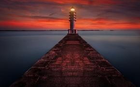 Picture sea, the sky, landscape, lighthouse, Marina, beauty