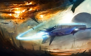 Picture the explosion, rocks, trail, planet, battle, Art, aircraft