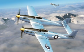 """Picture the sky, clouds, figure, art, fighters, P-51, aircraft, WW2, American, multipurpose, F-82, """"Mustangs"""""""