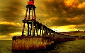 Picture water, clouds, lighthouse