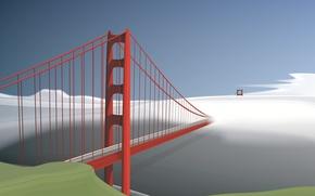 Wallpaper red, fog, vector, bridge