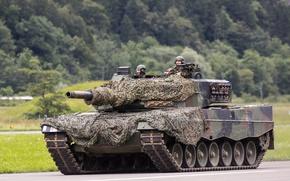 Picture tank, camouflage, combat, Leopard 2