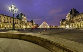 Wallpaper night, France, Paris, The Louvre, pyramid, lantern