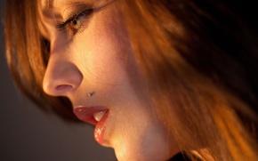 Picture face, piercing, grey eyes, bokeh, Kiera Winters