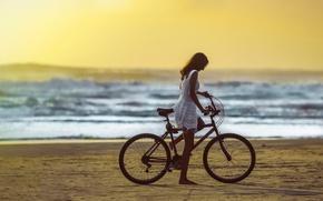 Picture beach, girl, bike