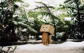 Wallpaper danbo, winter, snow, danbo, tree, branch