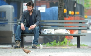 Picture bench, sadness, shoes, Keanu Reeves