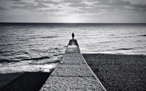 Wallpaper sea, people, pier, black and white, horizon, shore