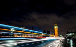 Picture road, light, machine, night, bridge, the city, lights, people, England, London, excerpt, lights, UK, Big …