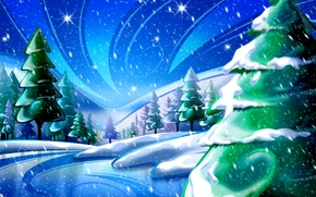 Picture the sky, stars, snow, trees, Winter