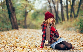 Picture autumn, leaves, nature, face, style, model