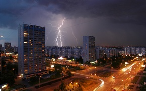 Picture road, lights, lightning, home, the evening, Moscow