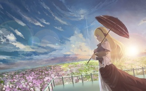 Picture summer, the sky, girl, the sun, flowers, umbrella, art, Azoth