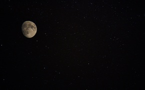 Picture space, stars, night, the moon, satellite