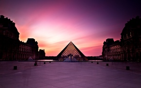 Picture sunset, people, France, Paris, The city, The Louvre, day, pyramid