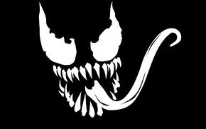 Picture minimalism, black background, art, marvel, comic, venom, venom