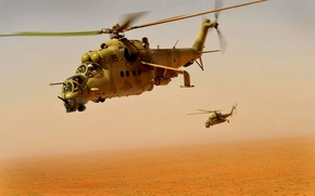 Wallpaper Flight, Mi-24, Helicopter, Desert, Dust, Helicopters, Height, Transport-combat
