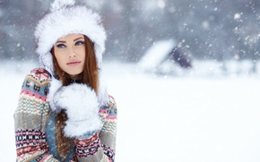 Picture winter, look, girl, snow, hat, house, brown hair, sweater, mitten