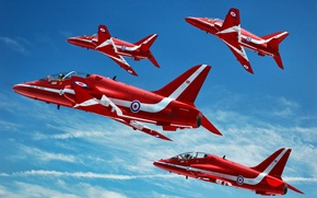 Picture clouds, flight, strip, aircraft, red, in the sky, Bjorn Vanneste, Hawk T1A, GrahamTG