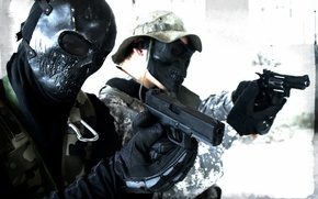 Picture weapons, guns, mask, revolver, men, Glock
