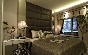Wallpaper room, style, flowers, bedroom, lamp, table, bed