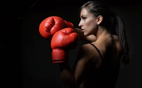 Picture red, boxing gloves, Boxing woman defensive pose