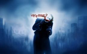 Picture blue, blood, Batman, Joker, why so serious