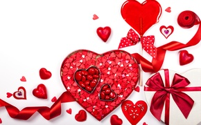 Picture romance, hearts, love, rose, bow, heart, romantic, Valentine's Day