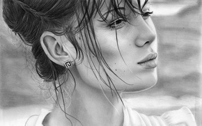 Picture look, girl, face, hair, portrait, earrings, hairstyle, lips, painting