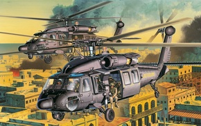 Picture shock, AH-60, soldiers of special purpose, art, American, street, the city, figure, helicopter, helicopters