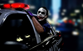 Wallpaper the dark knight, comic, Joker, the film, Joker, machine, auto, police