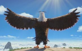 Picture cinema, animation, game, sky, bird, cloud, wings, sun, cartoon, eagle, movie, series, hero, film, Angry …