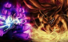 Picture wallpaper, fire, flame, sword, naruto, fox, anime, art, katana, fight, sasuke, ninja, fan art, Uchiha, …