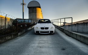 Picture white, the sky, the fence, bmw, BMW, white, the front, barbed wire, e92