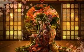 Picture flower, girl, smoke, tube, mask, sitting, long hair, Japanese clothing, green eyes, green hair, cherry …