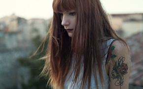 Picture girl, blouse, woman, mood, tattoo, piercing, female, flow, roof, gaze, stare